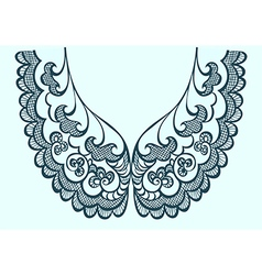 Embroidery collar pattern lace vector