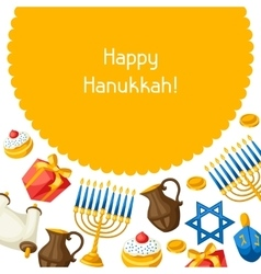 Jewish hanukkah celebration card with holiday vector