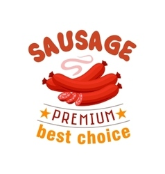 Sausage grill fast food menu label emblem vector