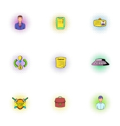 Office icons set pop-art style vector