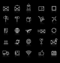 Post line icons with reflect on black background vector
