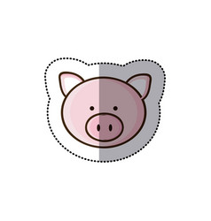 Sticker colorful picture face cute pig animal vector