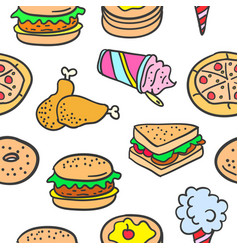 Doodle of many various food vector