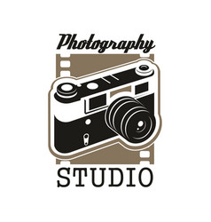 photo studio icon with isolated retro camera vector image