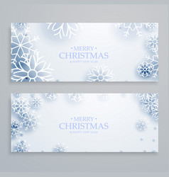 Clean white merry christmas banners set with vector
