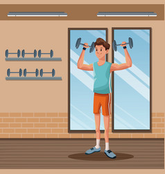 Man sports weight training gym workout vector
