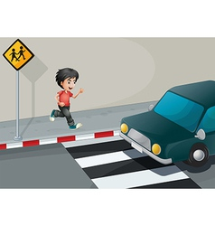 A boy at the street waiting for the car vector image