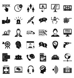 center operator icons set simple style vector image
