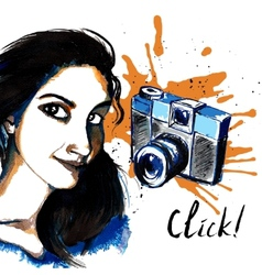 Girl ink hipster camera vector