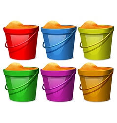Colourful pails with sands vector
