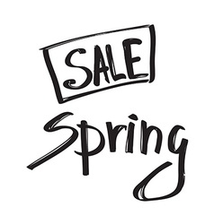 Spring sale black grunge lettering isolated on vector