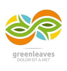 Abstract logo leaves landscaping ecology design vector