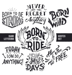 Hand lettering quotes set vector image