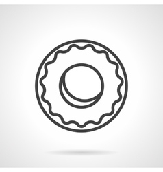 Black simple line donut icon vector