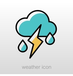 Cloud rain lightning icon weather vector