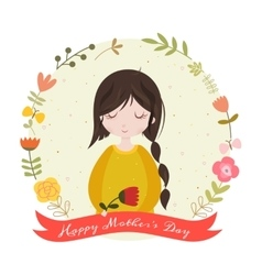 Happy mothers day card with adorable cartoon girl vector