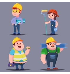 Builders cute cartoon characters set vector