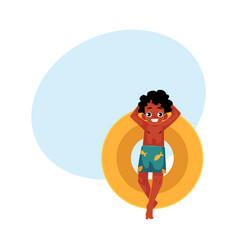 black african american boy teenager swimming on vector image vector image