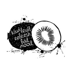 Black and white of isolated kiwi fruit silhouette vector