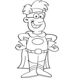 Cartoon boy wearing a superhero costume vector image vector image
