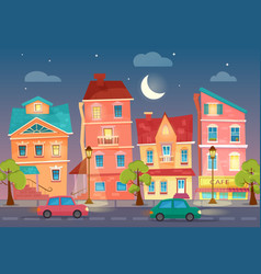 Cartoon city street at night street lights vector