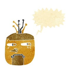 Cartoon gold robot head with speech bubble vector