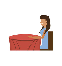 Cartoon woman sitting waiting vector
