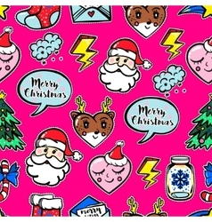 Christmas seamless pattern with cute comic icons vector image