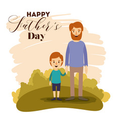 Colorful card of landscape with dad and son on the vector