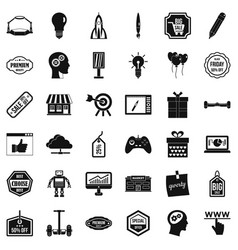 Creative marketing icons set simple style vector