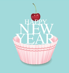 Cup cake new year 03 vector