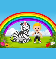 Cute boy and zebra at park with rainbow scene vector