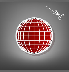 Earth globe sign red icon with for vector