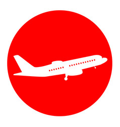 flying plane sign side view white icon vector image
