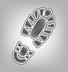Footprint boot sign pencil sketch vector
