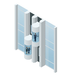 glass futuristic cylindrical shape elevator or vector image