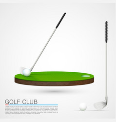 Golf club and ball in grass vector