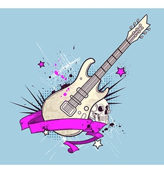 Grunge background with electric guitar vector
