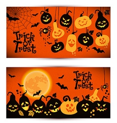Halloween background of cheerful pumpkins with vector image vector image