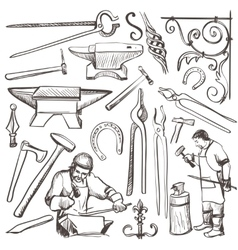 Hand drawn sketch blacksmith set vector image