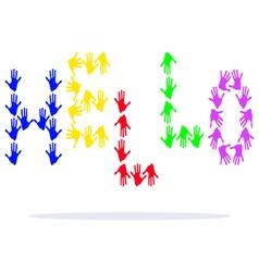 Hand prints hello vector image vector image