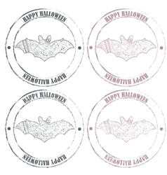 Happy haloween vintage stamps with bat vector image vector image