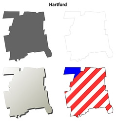 Hartford map icon set vector