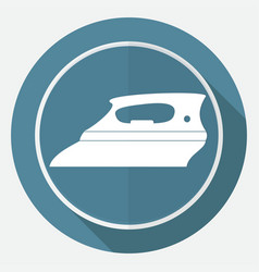Icon steam iron on white circle with a long shadow vector