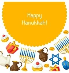 Jewish Hanukkah celebration card with holiday vector image vector image