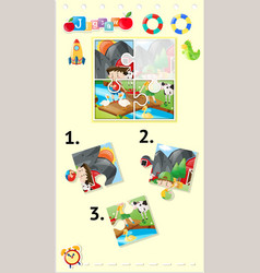 jigsaw puzzle game with kids and animals vector image