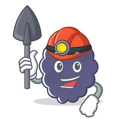 Miner blackberry character cartoon style vector