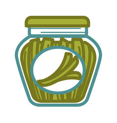 Pickled scallion in jar vector