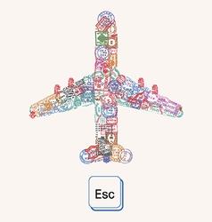 Plane of postmarks vector