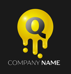 Q letter splash logo yellow dots and bubbles vector